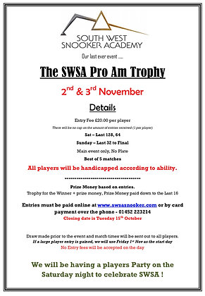 SWSA Pro Am Trophy - The last Event !