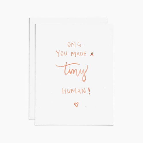 Tiny Human Rose Gold Foil Greeting Card