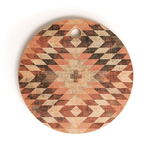 Native Coral Diamond Cutting Board Round