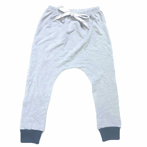 The Grey Joggers Hockey Laces Navy Cuffs