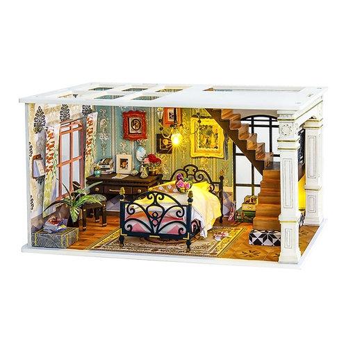 Paris Bedroom DIY Miniature Dollhouse Kit