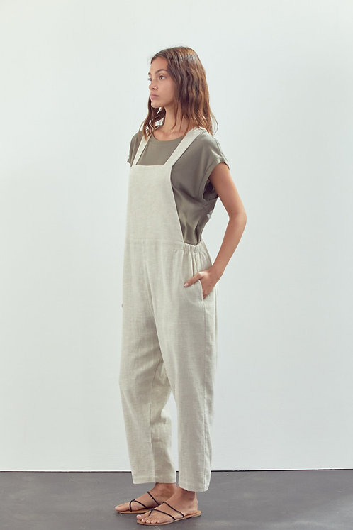 Linen Overall Pants in Oatmeal
