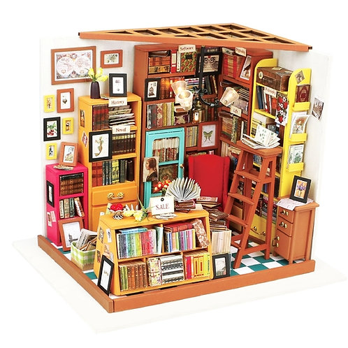 Sam's Study Room DIY Miniature Dollhouse Kit