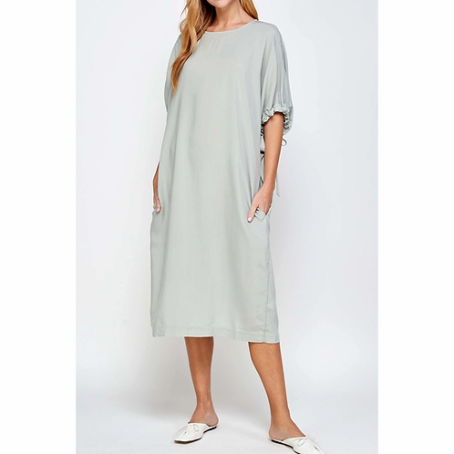 Tie Sleeve Tencel Midi Dress