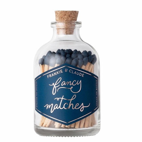 Navy Blue Small Fancy Match Jar