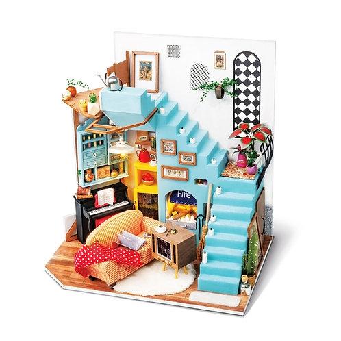 Joy's Peninsula Living Room DIY Miniature Dollhouse Kit