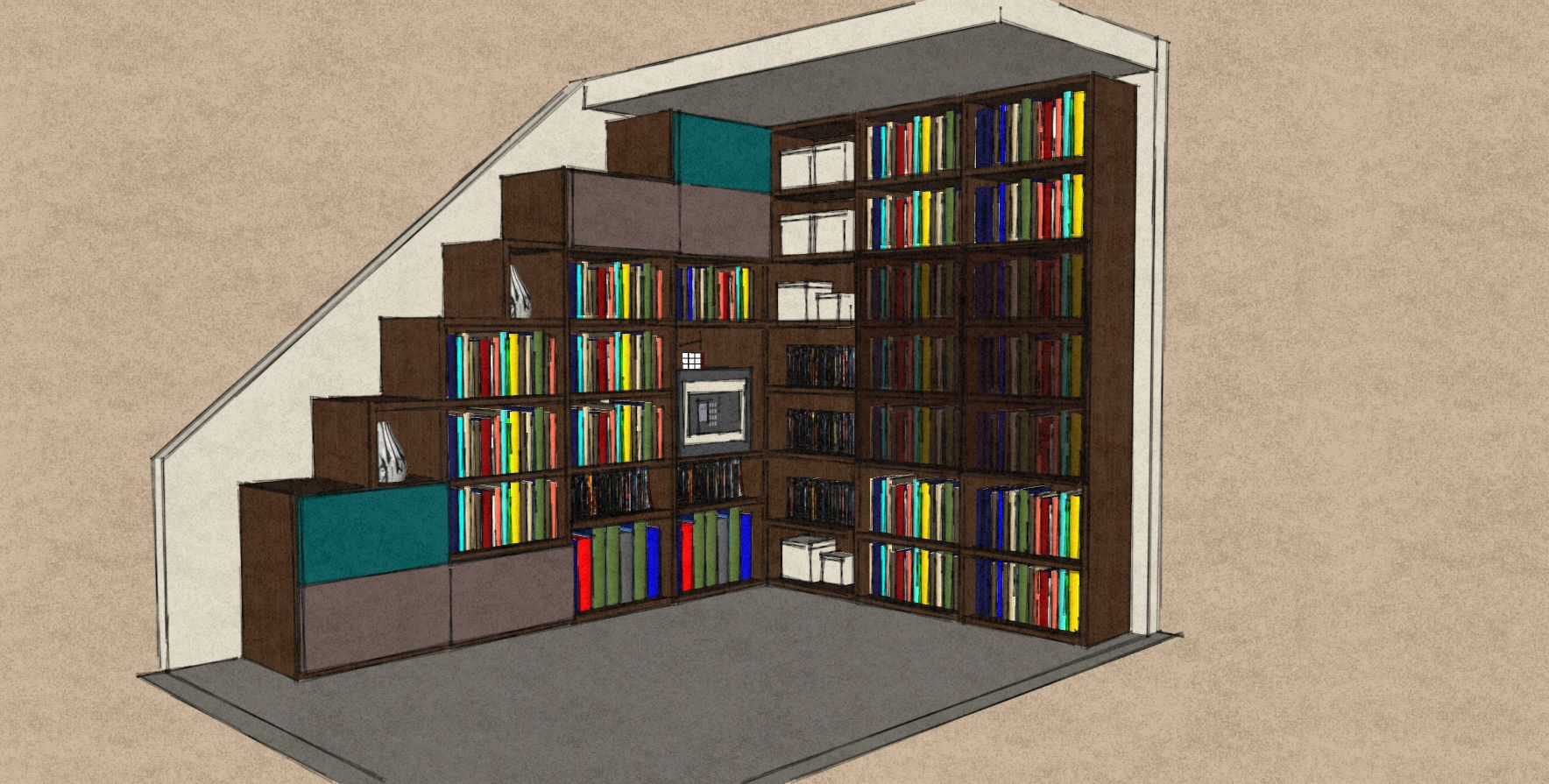 open bookcase with doors in matt lacquers and Therm Oak.jpg