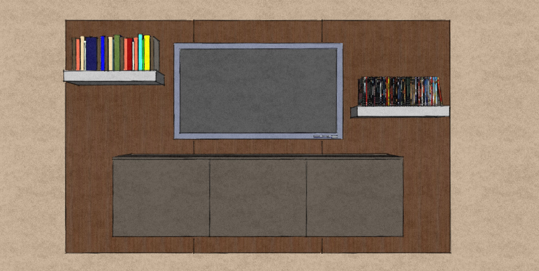 D8 media wall with walnut back panels and matt lacquer hung cabinets with shelves.jpg