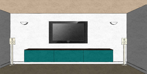 D27 simple run of drop lid media cabinets in turquoise matt lacquer and Therm Oak