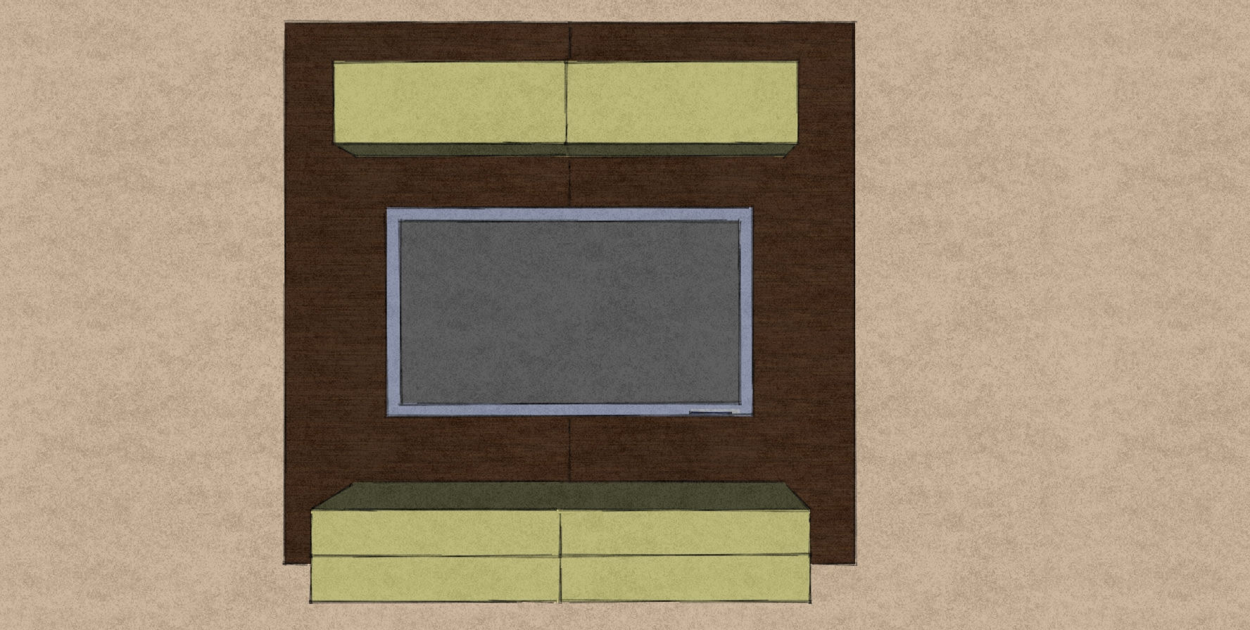 D20 media wall section for showhome Therm Oak back panels and lime green drawers and upper cabinets.jpg