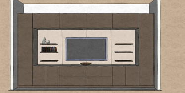 D33 living room media wall and display cabinet matt lacquers