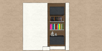D9 small compact alcove storage with walnut back panel and matt lacquer hung cabinets