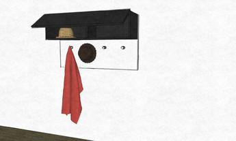 D31 hanging hallway coat rack with cupboard storage b