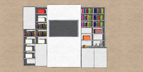 D5 Alcove bookcases with open shelves and doors complete white lacquer