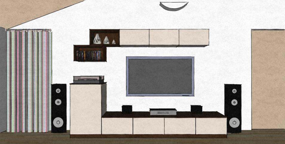 D22 living room media wall Therm oak and matt lacquer