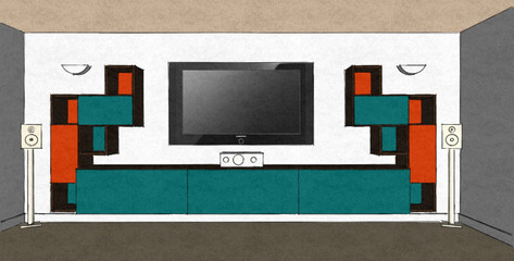 D24 media room design in Turquoise and orange matt lacquer with Therm Oak