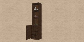 D21 a small compact bookcase for alcove include rack for wine bottles all in Therm Oak