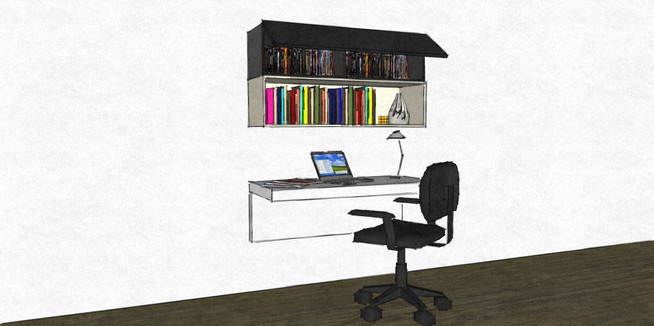 D38 small hanging desk area with wall hung cabinets grey and white lacquer