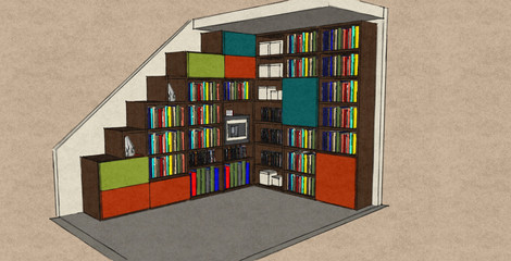 D23 open bookcase with doors in orange lime and turquoise matt lacquers and Therm Oak
