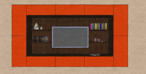 D2 wall hung media wall with orange lacquer cabinet surround and Therm Oak back panels and shelves