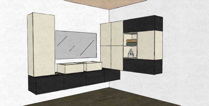 D35 bathroom design wall hung cabinets black and white