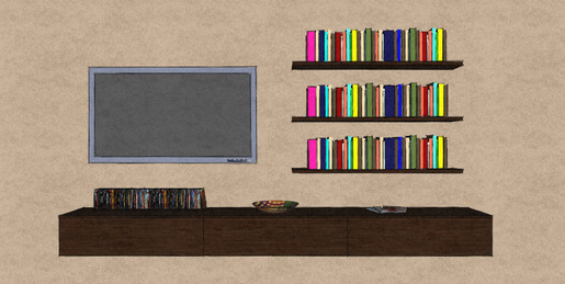 D18 wall hung media cabinets and shelves in Therm Oak