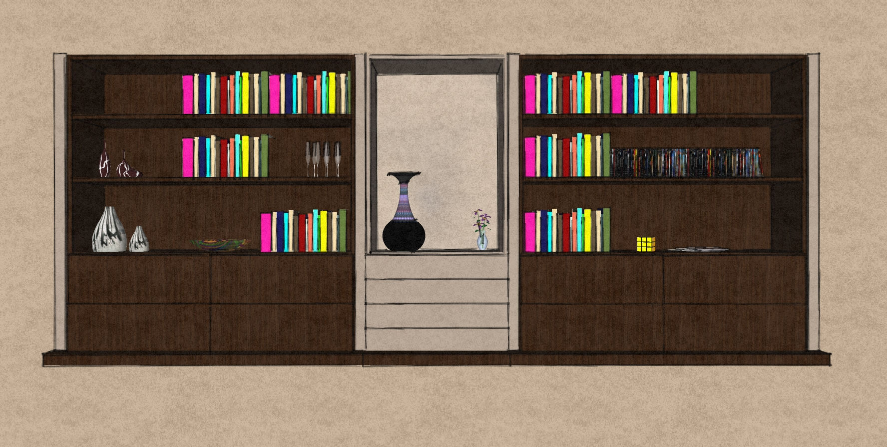 D12 large living room display bookcase Therm Oak and matt lacquer.jpg