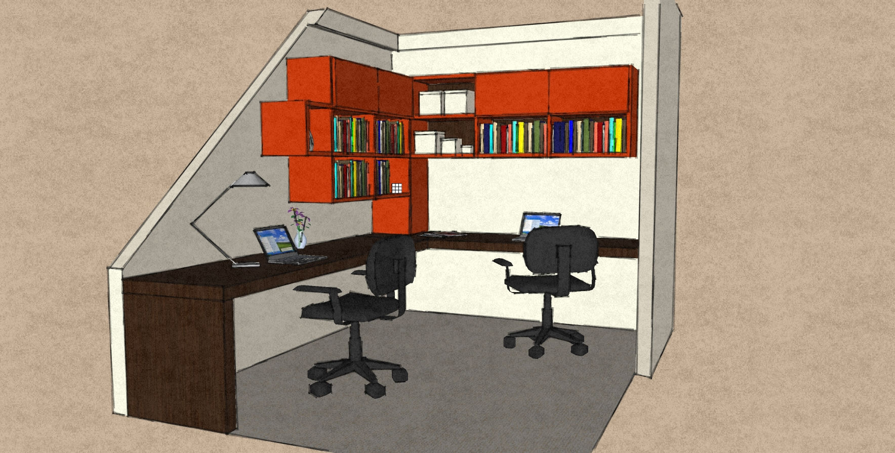 D25 awkward office area withn Therm Oak corner desk and L shape wall cabinet configuration.jpg