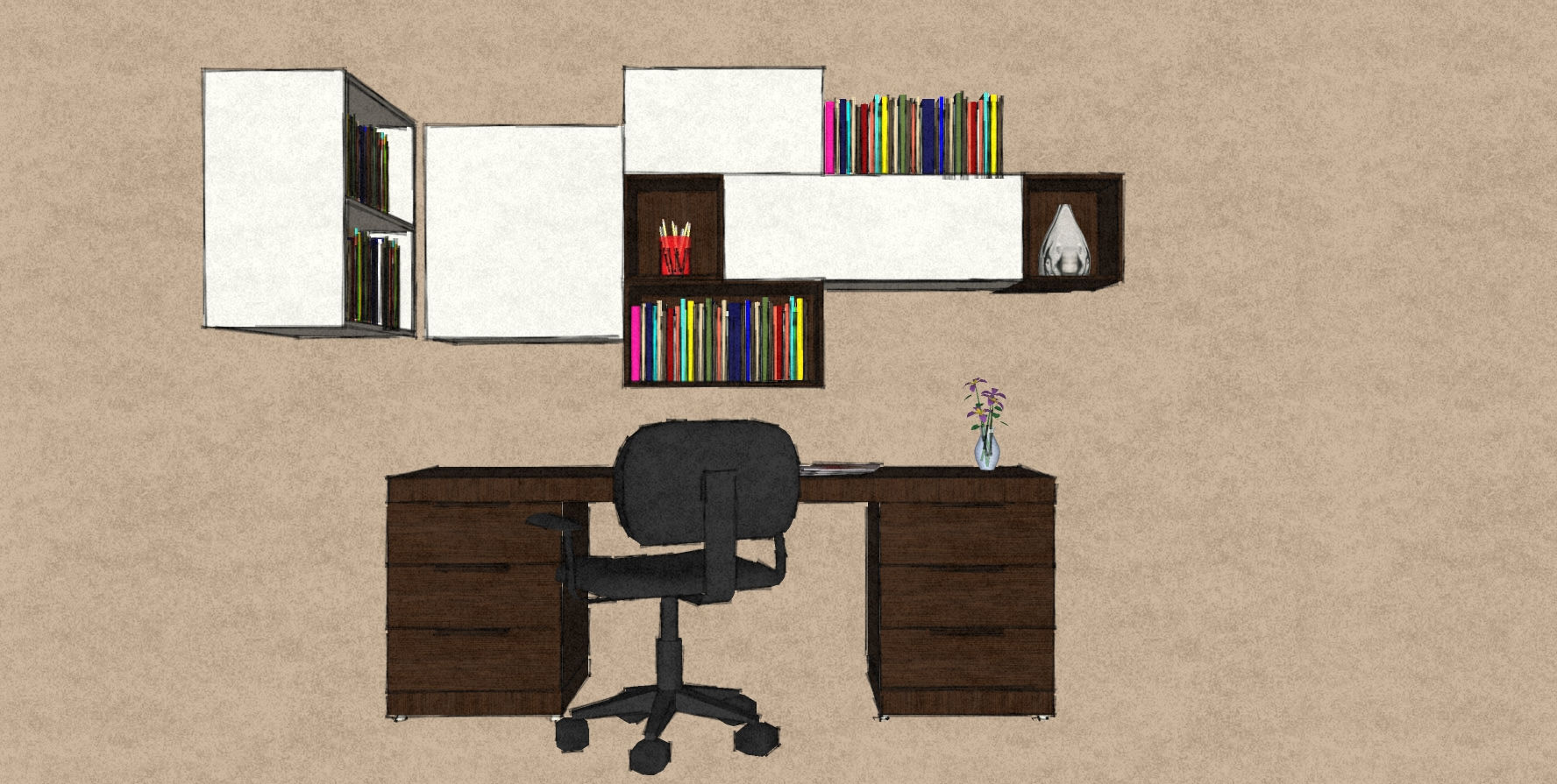 D4 office study design Therm Oak desk and white lacquer cabinets.jpg