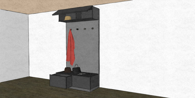 D28 hallway modern coat and hat stand