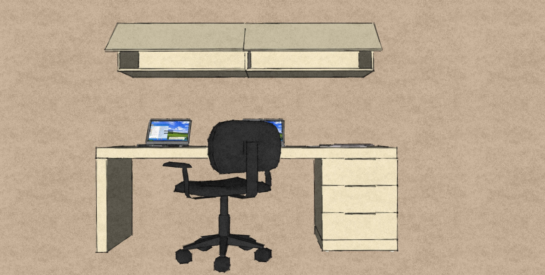 D10 office furniture design simple desk with wall hung lift lid cabinets all in pale cream matt lacquer.jpg
