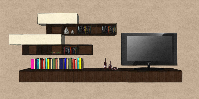 D19 hanging living room media cabiets and shelving in Therm Oak and cream matt lacquer