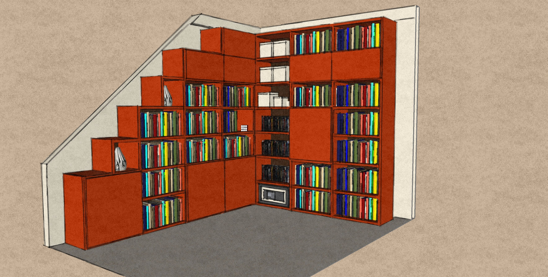 D26 awkward corner bookcase open and enclosed with door sections in Orange matt lacquer.jpg