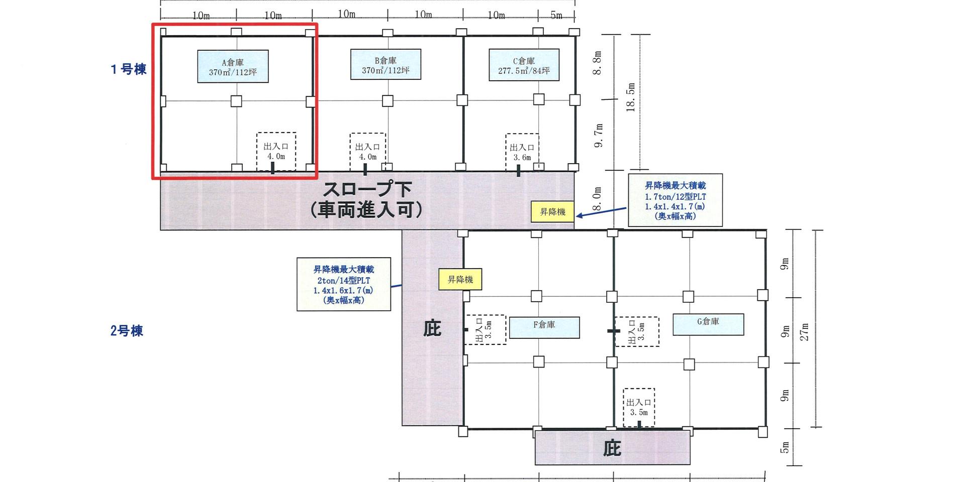 A倉庫(赤枠)
