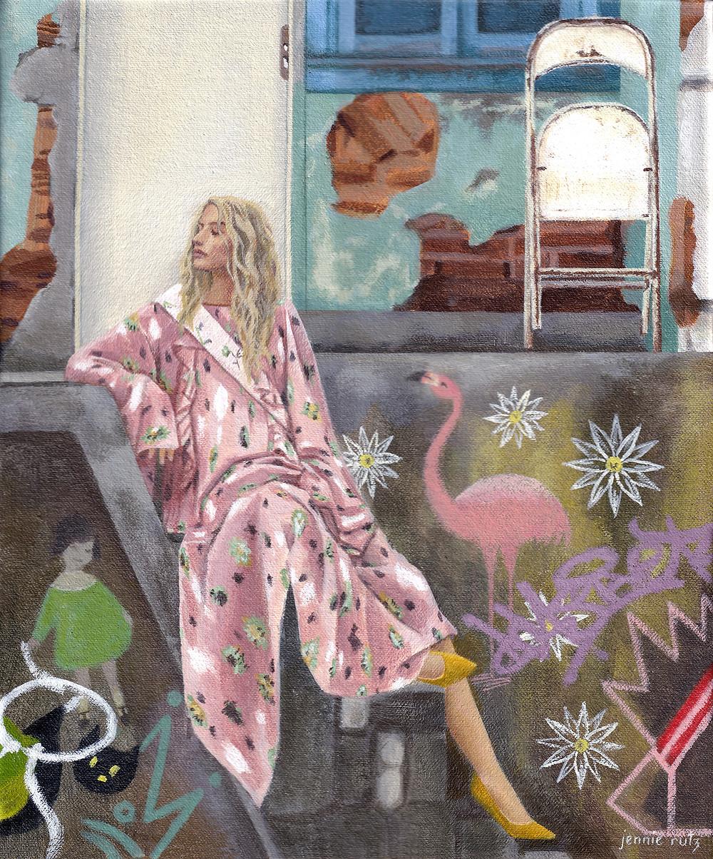 Fashion Art, Blonde woman in pink floral dress, graffiti background, flamingo, yellow shoes, jennie rutz, jacinta emms