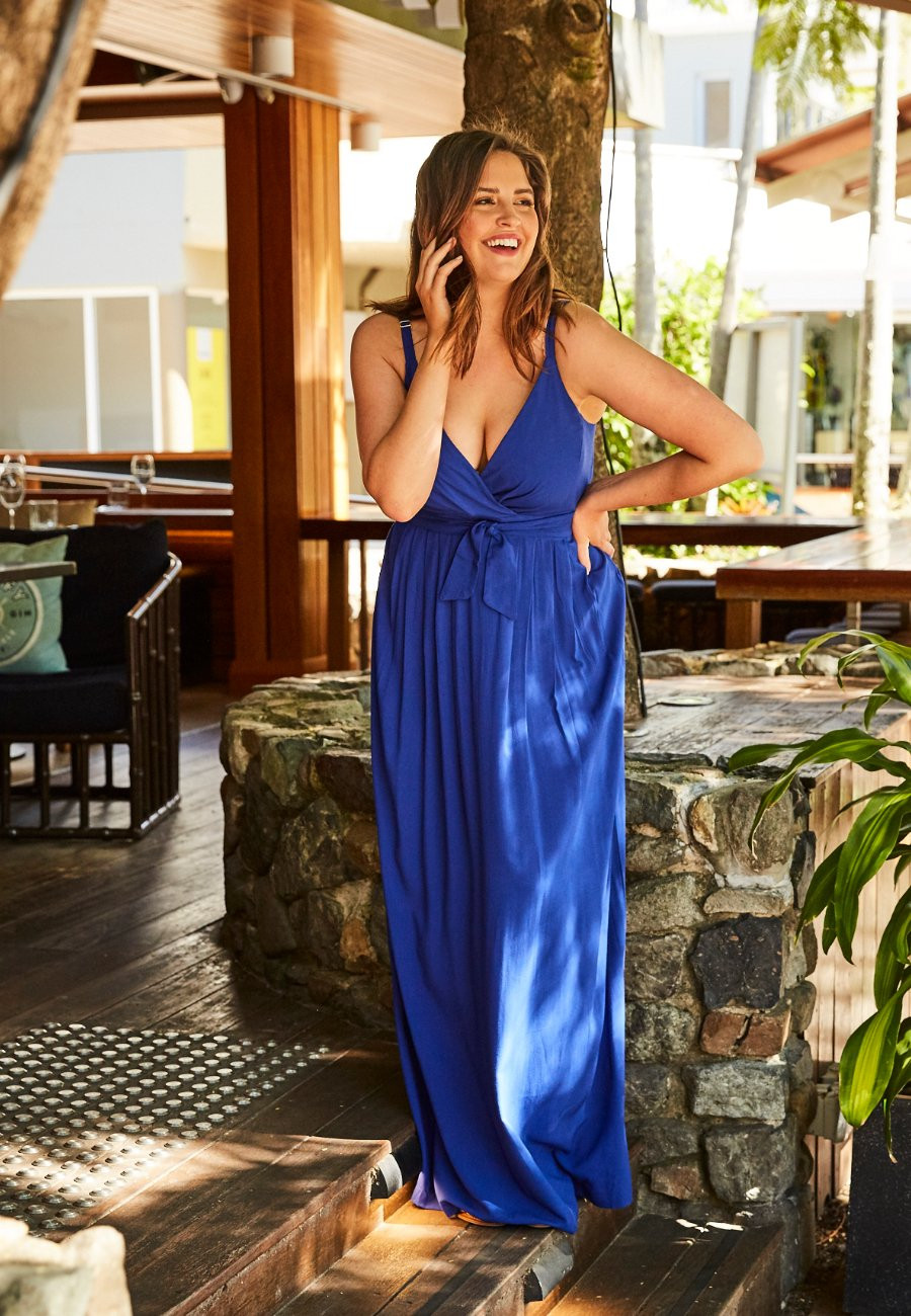 Blue Wrap Dress Noosa Designer Jeuje