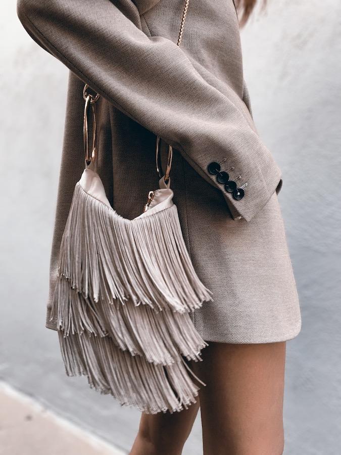 Tassel Bag, neutral evening bag, fashionable fringe bag