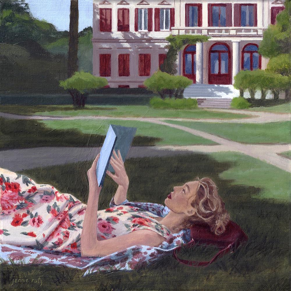 Fashion Art, Blonde woman in white floral dress reading novel