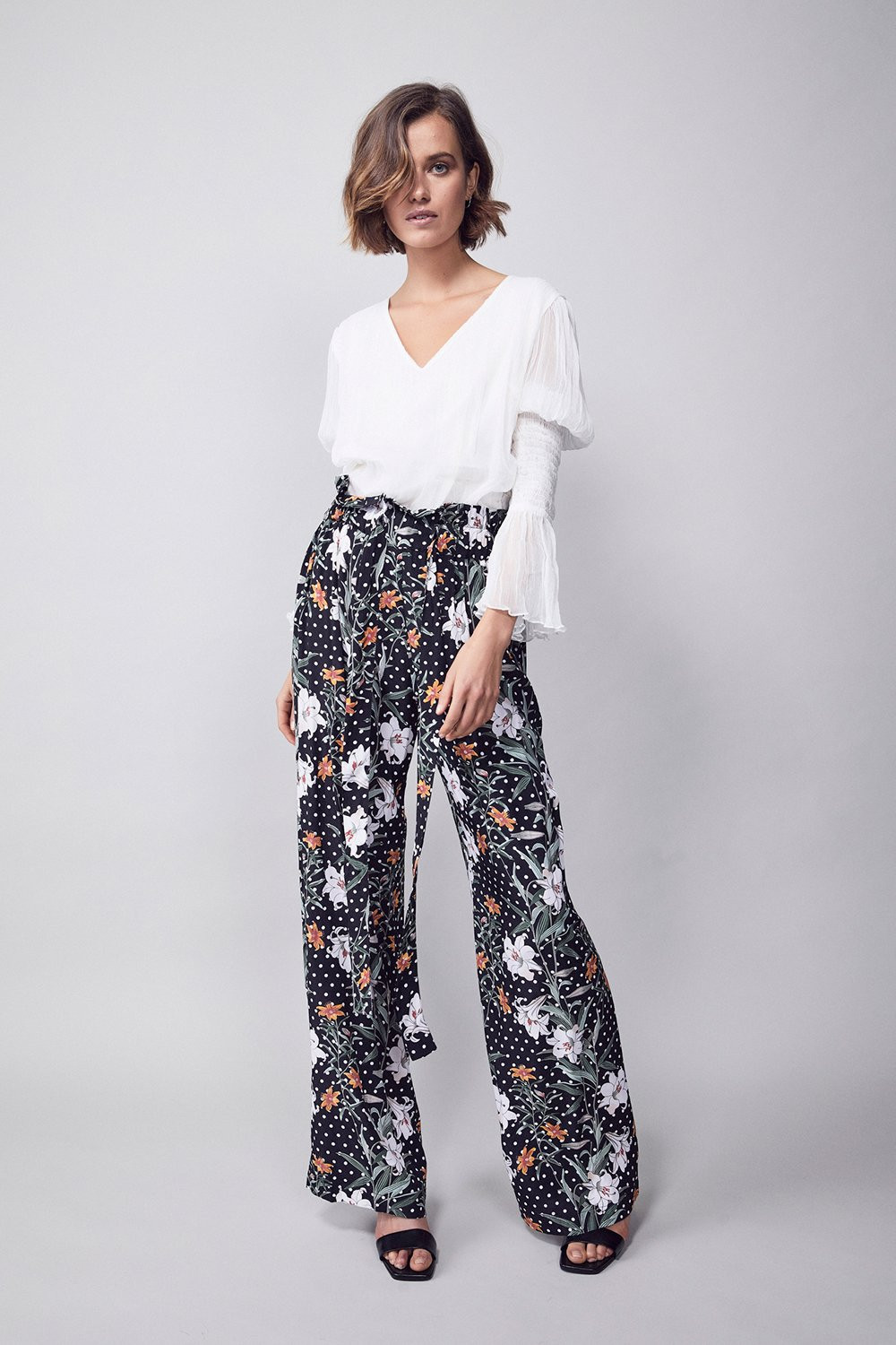 Floral long pants, work fromhome wear. In fashion at home, home style