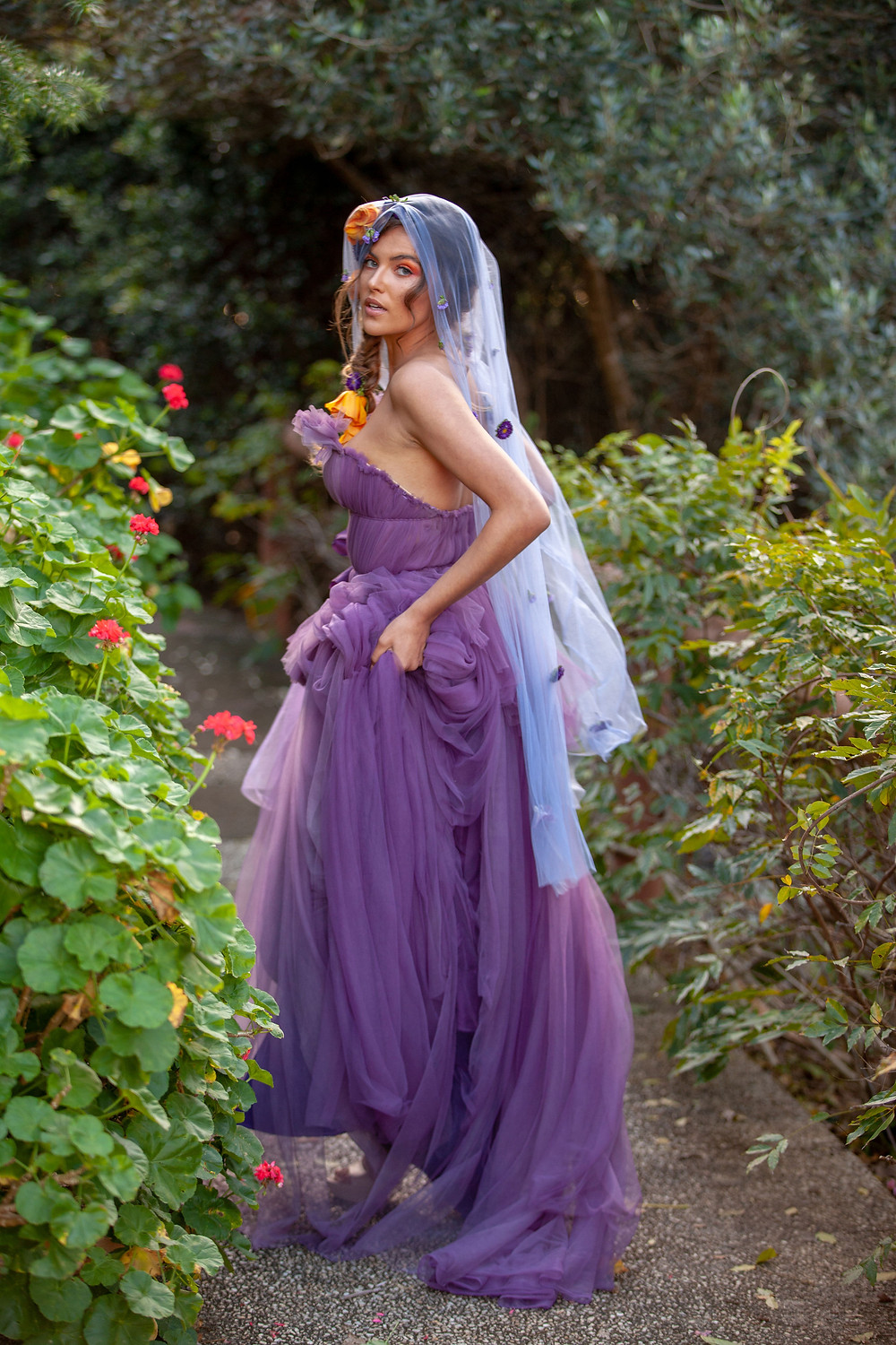 Purple Wedding Gown by Sunshine Coast Designer Judy Copley