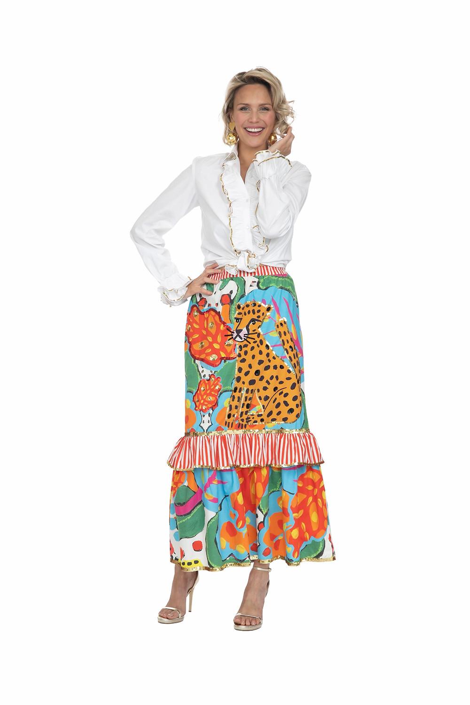 Colourful Cheetah Midi Skirt