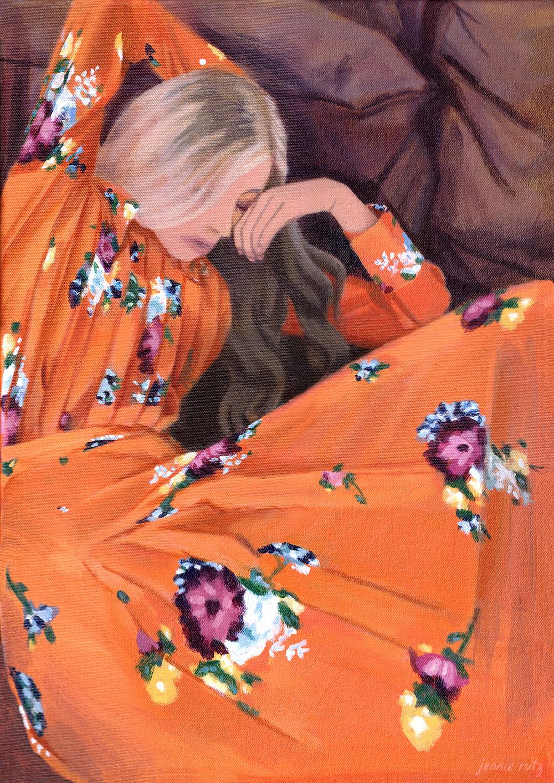 Fashion Art, Blonde woman in orange floral dress, jennie rutz, jacinta emms