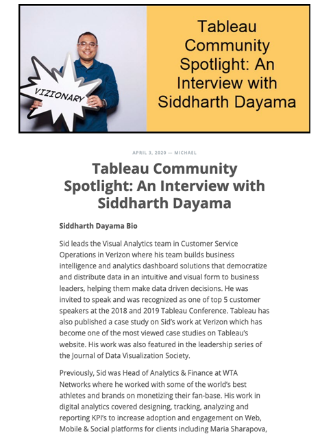 Tableau Community Spotlight: An Interview with Siddharth Dayama