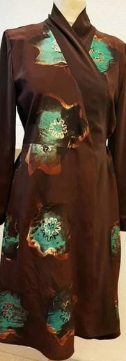 Oslagskjole, håndtrykket på silke