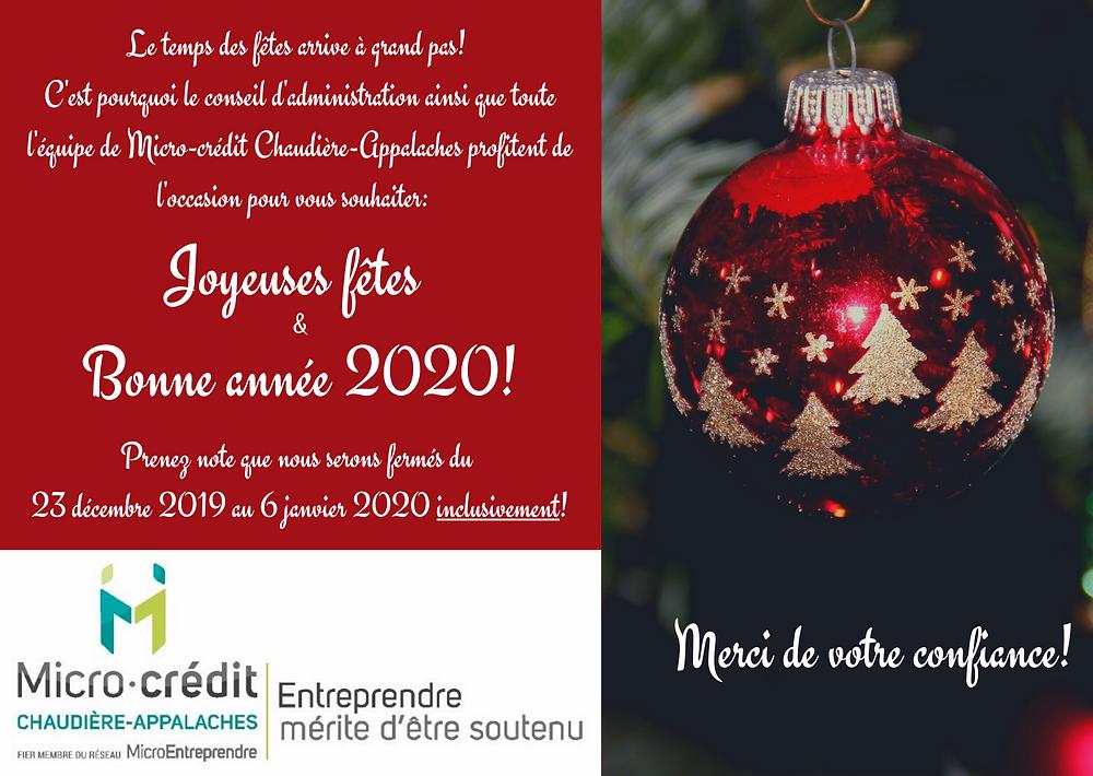Joyeuses fêtes et Bonne année 2020!