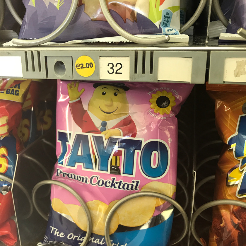 Prawn Cocktail Tayto chips in a vending machine in Dublin, Ireland