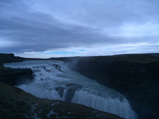 Gullfoss Waterfall in December at 2 in the afternoon.