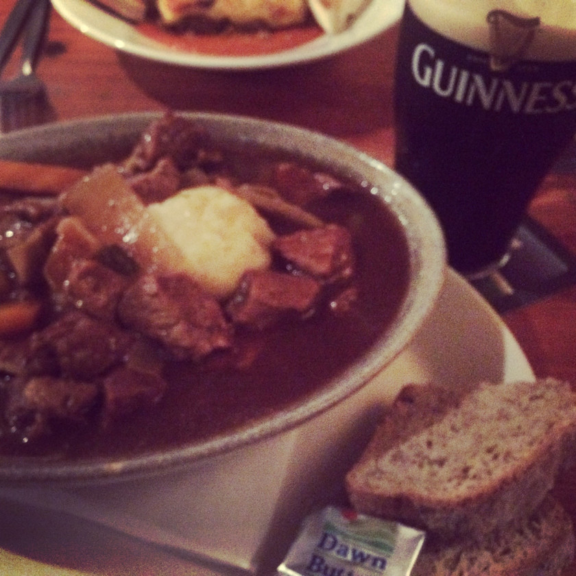 Typical Irish meal of beef stew, Irish soda bread and a pint of Guinness