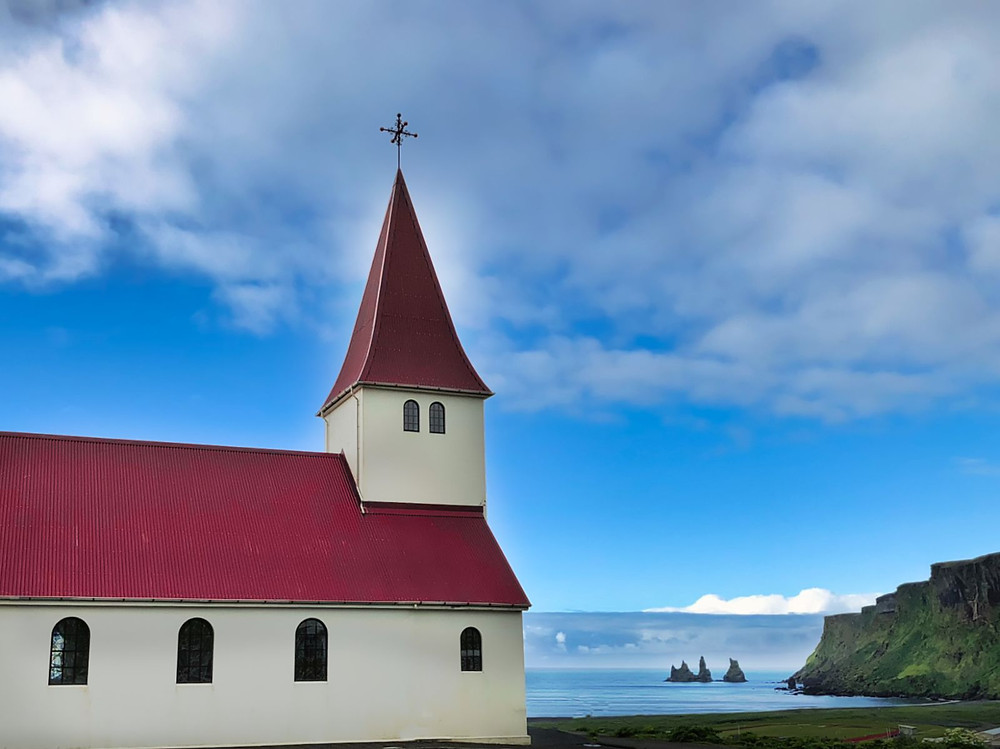 Red roof church in Vik, Iceland