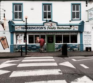 Exterior of renowned Harrington's Family Restaurant in Dingle, Ireland